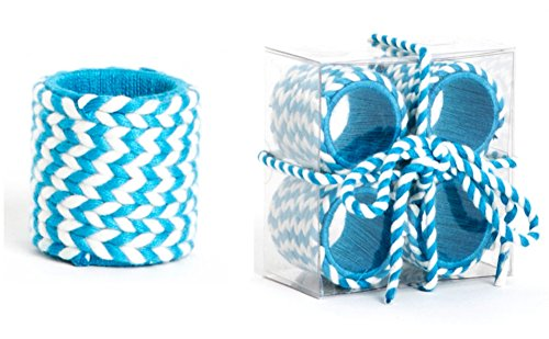 - Two Tone Braid Design Napkin Rings, Set of 4 (turquoise)