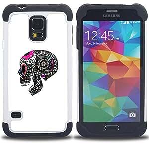 For Samsung Galaxy S5 I9600 G9009 G9008V - SKULL DEATH GREY PINK WHITE PATTERN Dual Layer caso de Shell HUELGA Impacto pata de cabra con im??genes gr??ficas Steam - Funny Shop -