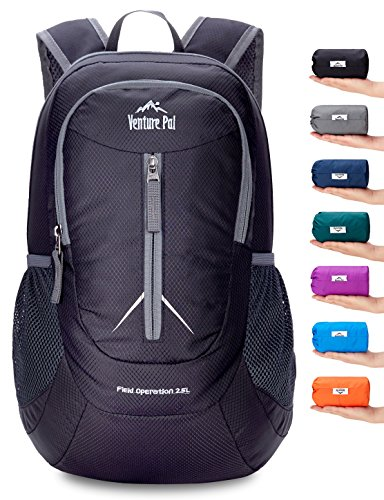 Venture Pal 25L - Durable Packable Lightweight Travel Hiking Backpack Daypack Small Bag for Men Women Kids (Black)