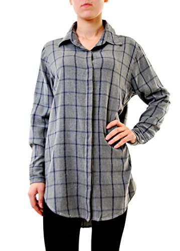 Sundry Women's Oversized Flannel Plaid Shirt Grey Size US 1