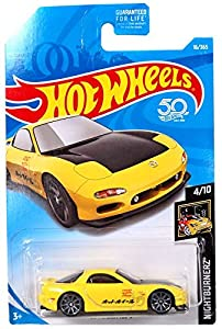 upc 887961540666 product image for Hot Wheels 2018 50th Anniversary Nightburnerz Mazda RX-7 16/365, Yellow | barcodespider.com