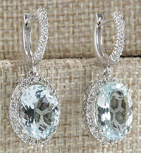 - Zhiwen Fashion Women 925 Silver Aquamarine Gemstone Bridal Ear Stud Hoop Dangle Earrings(Style-Round)