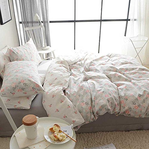 Quilt Set Twin Single (HIGHBUY Soft Cotton Twin Duvet Cover Sets for Kids Girls Flower Print Garden Reversible Floral Comforter Cover Bedding Sets Twin 3 Pieces Single Bedroom Collection with Zipper Closure for Teens)
