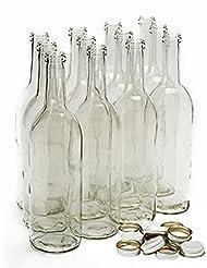 Home Brew Ohio 750 ml Clear Screw Cap Wine Bottles with 28 mm Metal Screw Caps