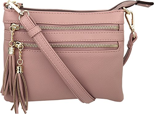 B BRENTANO Vegan Mini Multi-Zipper Crossbody Handbag Purse with Tassel Accents (Blush.)