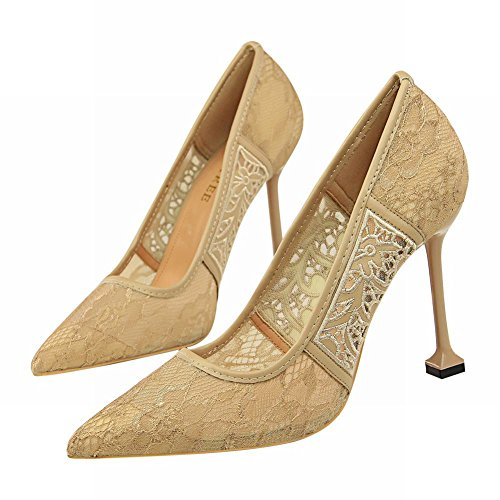 Carolbar Women's Sexy Elegant Lace High Heel Stiletto Evening Shoes Khaki Xl9aV