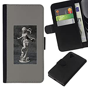 KLONGSHOP // Tirón de la caja Cartera de cuero con ranuras para tarjetas - mármol sexy talla chica del cartel Mujer - LG Nexus 5 D820 D821 //