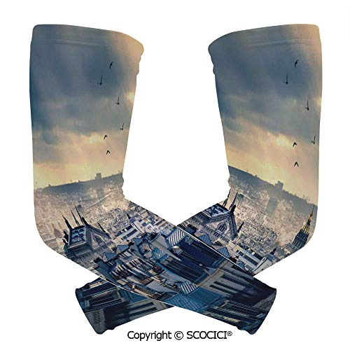 Comfort and Durable Lightweight Arm Guard Sleeve Paris Cityscape Taken from Montmartre Rooftops Flying Bird Pigeons Foggy Sunrise Breathable, Flexible Sleeves Protection ()