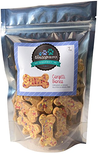 Confetti Bones, Apple and Peanut Butter Gourmet Organic and Vegan Dog Treats - Gluten Free, Grain Free