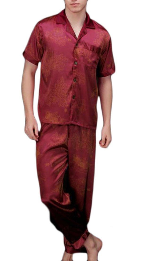 Cromoncent Men's Silk Satin Solid Short Sleeve 2 Piece Nightwear Pajama Set 4 L