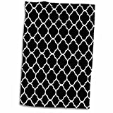"3D Rose Image Black White Quatrefoil Pattern Hand Towel, 15"" x 22"", Multicolor"