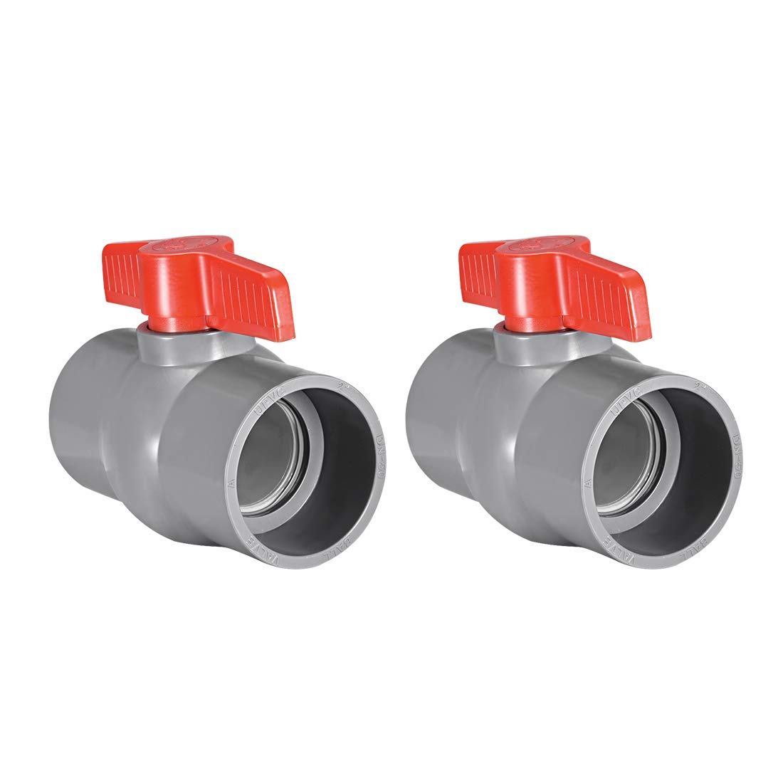 sourcing map 2Stk PVC Kugelhahn Wasserversorgungsrohr Gleitkanten 2 Innenlochdiameter Rot Grau