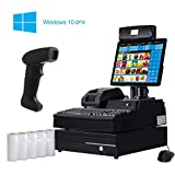 ZHONGJI Pos System, Cash Register PC, Point of Sale Kit, 58mm Thermal Receipt Printer, Handhold Barcode Scanner ,Stainless Steel Cash Drawer, 220VFD Customer Display (With OS / NO Software)