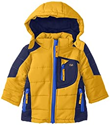 YMI Baby Boys\' Bubble Color Block Jacket with Detachable Hood, Gold, 18 Months