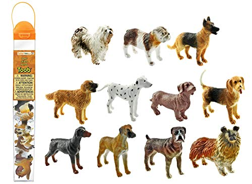 Dog Miniature Figure - Safari Ltd Dogs TOOB With 11 Hand Painted Toy Figurines Including A Dachshund, Dalmatian, Retriever, Sheepdog, Collie, Shepherd, Beagle, Boxer, Great Dane, Doberman, And Bulldog  For Ages 3 And Up