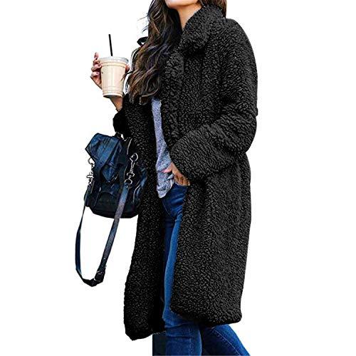 Memoryee Women's Casual Open Front Faux Fleece Coat Oversized Long Pattern Teddy Jacket Cardigan Warm Winter Outwear