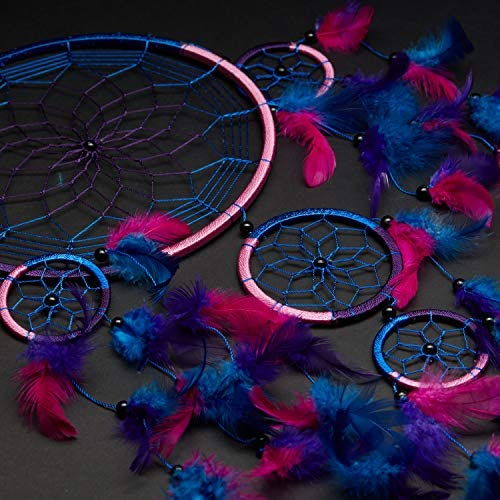 Rose Et Violet 21,6/cm de diam/ètre et de 61/cm de Long Immerge Dreams Dream Catcher ~ Fait /à la Main Traditionnel Bleu Royal