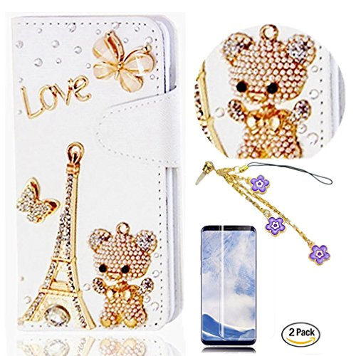 STENES Galaxy S9 Case - STYLISH - 3D Handmade Eiffel Tower Bear Butterfly Wallet Card Slots Fold Leather Cover Case with Flowers Dust Plug,Screen Protector for Samsung Galaxy S9 - Gold