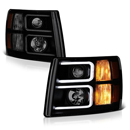 VIPMotoZ 2007-2013 Chevrolet Silverado 1500 2500 3500 Projector Headlights - Matte Black Housing, Smoke Lens, Neon Tube Daytime Running Lamp, Driver and Passenger Side