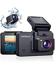 "Kingslim D4 4K Dual Dash Cam with Built-in Wi-Fi GPS, Front 4K/2.5K Rear 1080P Dual Dash Camera for Cars , 3"" IPS Touchscreen 170° FOV Dashboard Camera with Sony Starvis Sensor, Support 256GB Max"