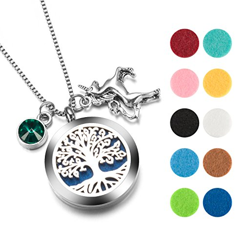 Birthstone Unicorn - Tree of Life Necklace Aromatherapy Essential Oil Diffuser Necklace Jewelry with Unicorn charm and birthstone necklace. (May)