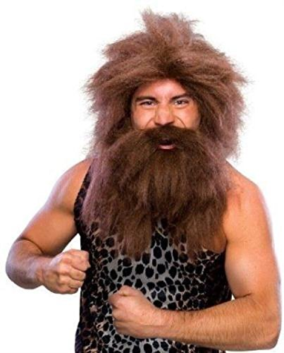 Cute Cavewoman Halloween Costumes (Brown Prehistoric Cave Man Wig and Beard)
