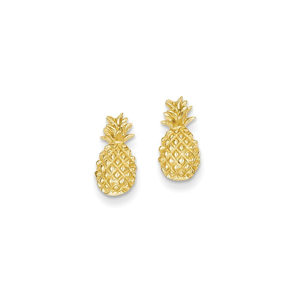 14k Polished & Textured Pineapple Post Earrings, 14 kt Yellow Gold by Security Jewelers
