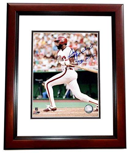 Garry Maddox Signed - Autographed Philadelphia Phillies 8x10 inch Photo with 1980 World Series Champions Inscription - MAHOGANY CUSTOM FRAME