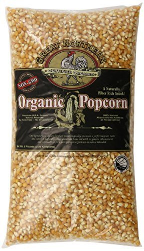 Great Northern Popcorn Organic Yellow Gourmet Popcorn 5 Pound, 2 Pack by Great Northern Popcorn Company ()