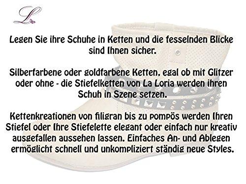 La Loria Stiefelketten French Lily, Schuhschmuck mit Strass Stiefelbänder (2 Stück) Gold