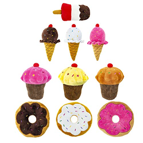 Large Air Squeaker Donut - Giftable World Metropawlin Pet Plush Pet Toy 10 Assorted Cupcakes, Ice Creams, Cupcakes with Squeakers