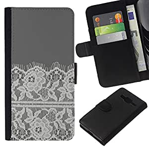 KingStore / Leather Etui en cuir / Samsung Galaxy Core Prime / Bordado White Linen Gris;
