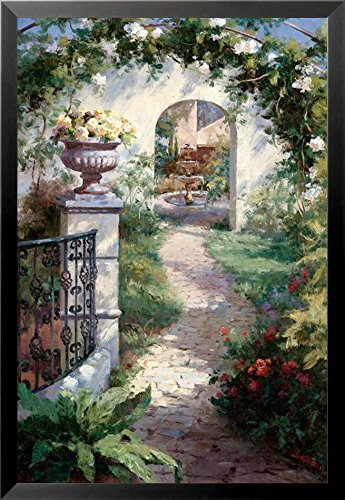 Buyartforless Framed Flowered Archway by Haibin 33x22 Art Print Poster