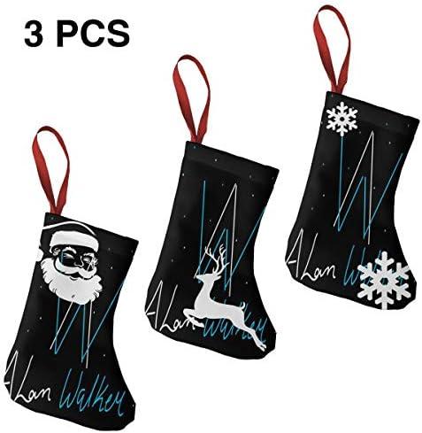 クリスマスの日の靴下 (ソックス3個)クリスマスデコレーションソックス 音楽Alan Walker クリスマス、ハロウィン 家庭用、ショッピングモール用、お祝いの雰囲気を加える 人気を高める、販売、プロモーション、年次式