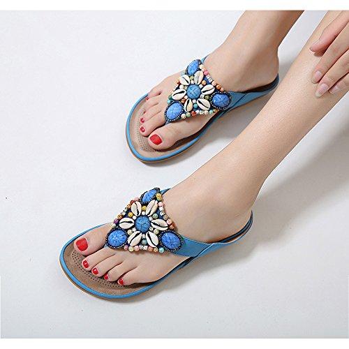 Ethnic Beads Lovely Sandals Bohemian Outdoor Flip Flops Travel Blue nu38Pjrxm