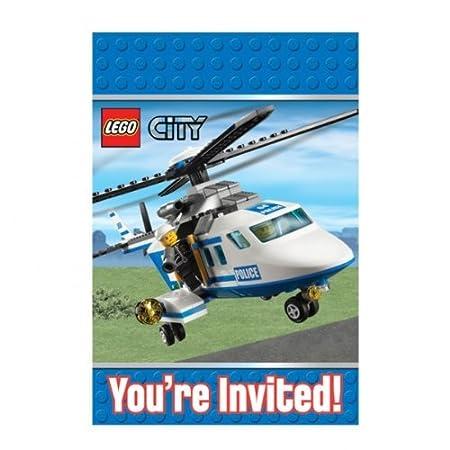 Lego City Party Lego Party Invitations Envelopes x 8 Amazonco