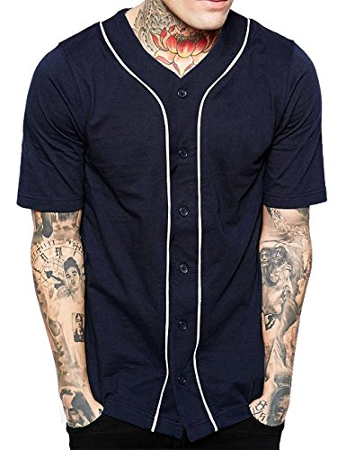 Hat and Beyond Mens Baseball Button Down Jersey (3X-Large, 1up01_Navy/White)