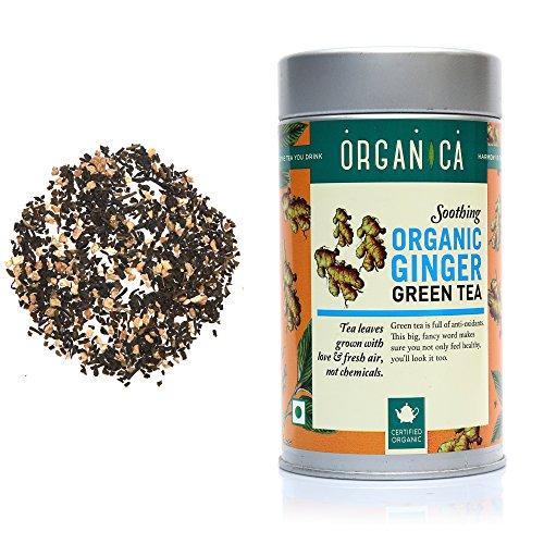 Organica Pure Natural Ginger Green Tea Loose Leaf Pet Jar