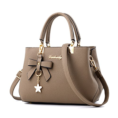 Gray FOLLOWUS PU Handle Women Bags Top Khaki Handbags Tote Leather AA8rw