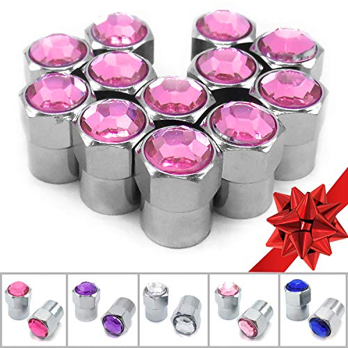 Sparkle Rider Crystal Rhinestone Bling Tire Valve Stem Caps - Chrome Air Cover fits Schrader Valves - Cool Car, Motorcycle, Truck or Bicycle Wheel Accessory (12-Piece Set, Hot ()