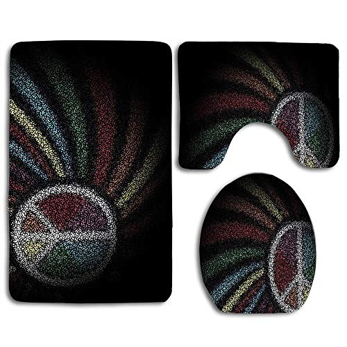 RiuianaBVCc Tie Dye Peace Sign Custom Soft Comfort Bathroom Mats Anti-Skid Absorbent Toilet Seat Cover Bath Mat Lid Cover 3pcs Set -