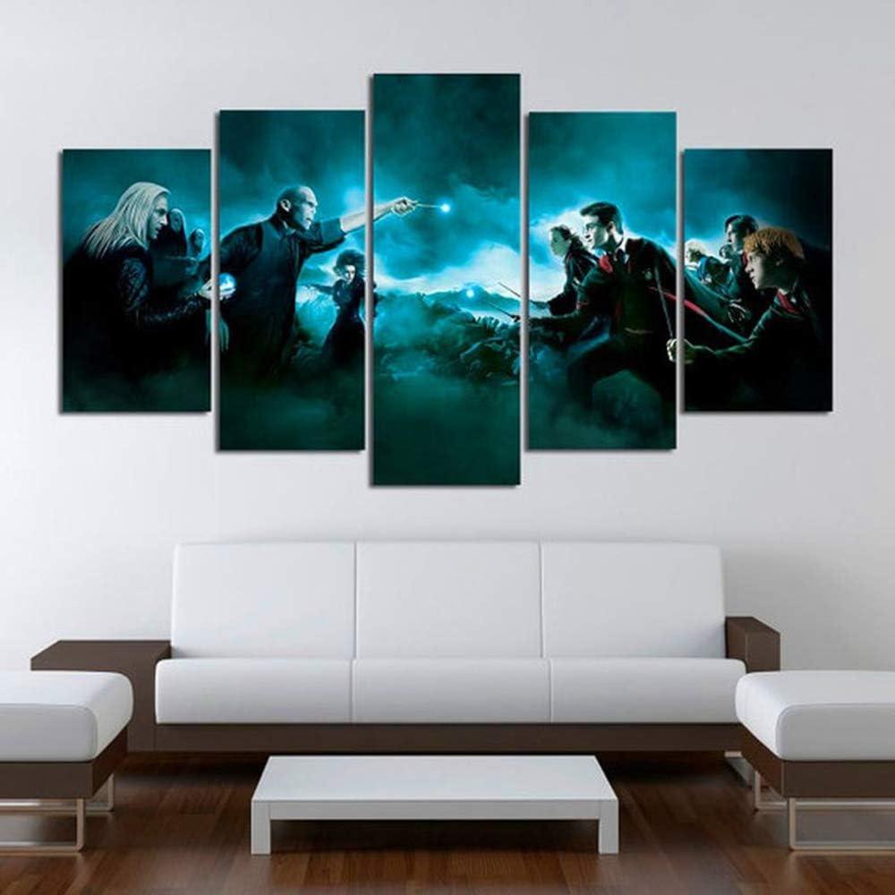 OPARY Lona Pintura Moderno Mural 5 Paneles Personaje de la película Harry Potter Imagen Decoración de Pared Modular Póster Resumen,B,20×35×2+20×45×2+20×55×1