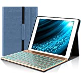 iPad Keyboard Case for iPad 2018 (6th Gen)/iPad 2017 (5th Gen)/iPad Pro 9.7/iPad Air 2 & 1-PU Leather-Detachable Wireless Keyboard-7 Color Backlit-Smart iPad 9.7 Case with Keyboard (Dark Blue)