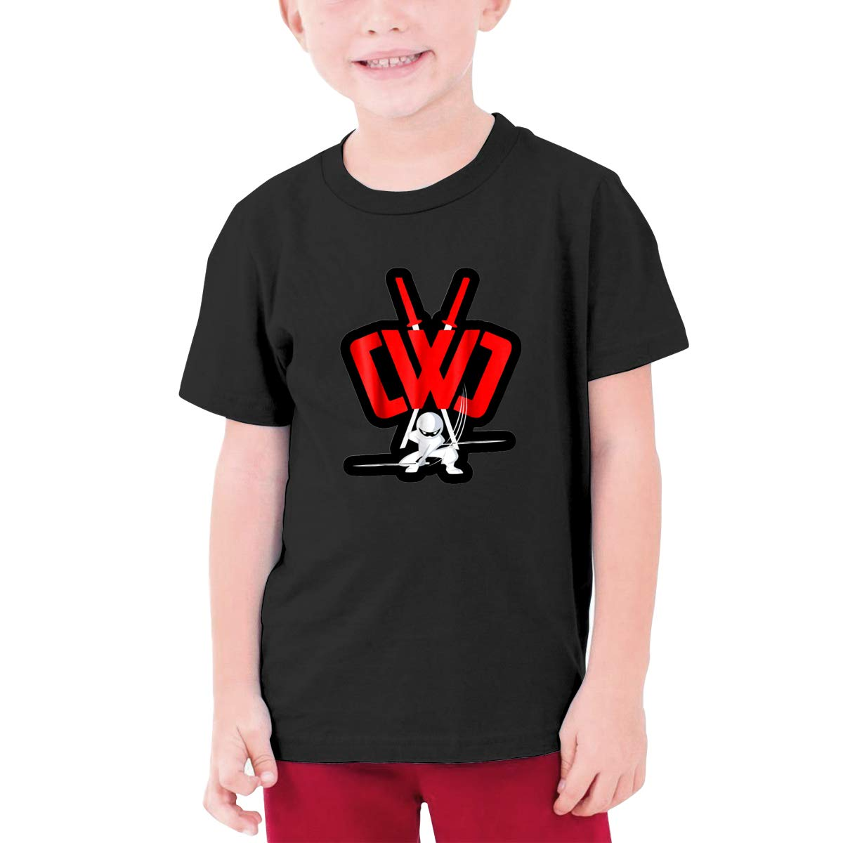 CWC Chad Wild Clay Kids O-Neck 3D Printing Youth Fashion Tops,BlackNidey