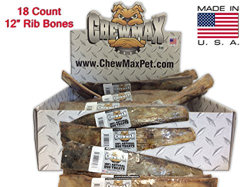 ChewMax Roasted Rib Bones 18 Count of 12 Inch 100% Natural Roasted Rib Bones Made in the USA