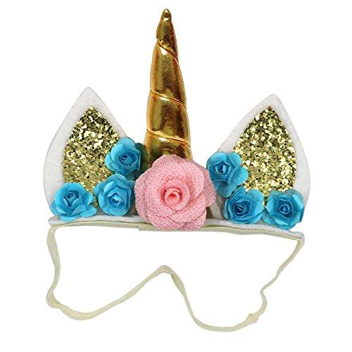 Md trade Unicorn Headbands with Glitter Ears & Felt Flowers for Kids, Girls - Magical Girl Costume Maker