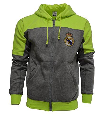 (Real Madrid Hoodie Zip Front Fleece Sweatshirt Jacket Gray (S))