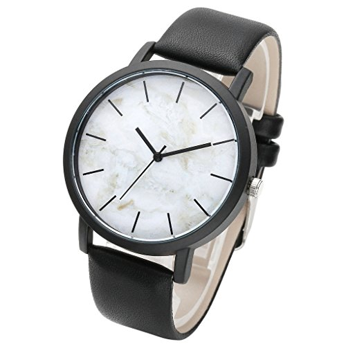Top Plaza Marbling Leather Watch White