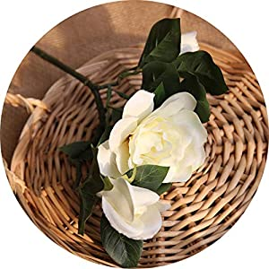 Memoirs- Silk Leaf Eucalyptus Artificial Green Leaves for Wedding Decoration DIY Wreath Gift Scrapbooking Craft Apple Plants Fake Flower,47Cm Gardenia White 1