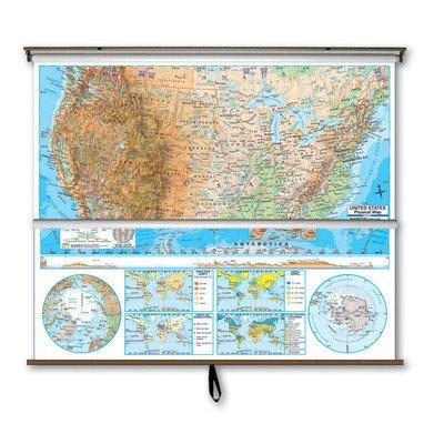 Universal Map 28077 US-World Advanced Physical Wall Map Combo - Backboard